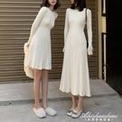 長款毛衣裙女秋冬裝2020新款長袖打底裙子收腰顯瘦港風針織洋裝 黛尼時尚精品