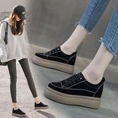 厚底內增高女鞋2021春夏網紅新款坡跟松糕鞋學生休閑百搭懶人單鞋快速出貨