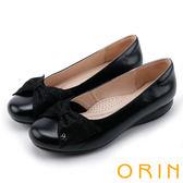 ORIN 氣質甜美風 蝴蝶結牛皮厚底娃娃鞋-黑色