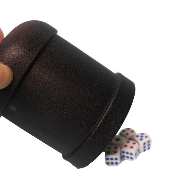 加厚 骰盅 黑色直筒 附5個骰子 7703/一袋10組入{促50} 吹牛骰子樂 過五關骰盅遊戲 益飛牌-鑫
