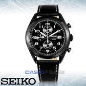 SEIKO 精工 手錶專賣店 國隆 SSB277P1 三眼計時男錶 皮革錶帶 黑 日期顯示 防水100米 全新品