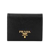 【PRADA】浮雕logo防刮牛皮二折短夾(黑色) 1MV204 QWA F0002