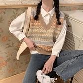 馬夾外穿無袖針織背心馬甲女秋冬寬鬆套頭森系毛衣上衣 樂淘淘