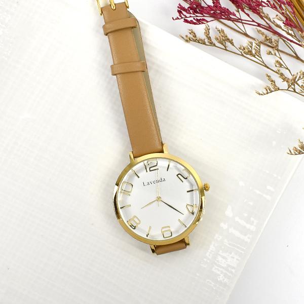 韓國手錶 LAVENDA簡約切割面皮革錶NEKL13