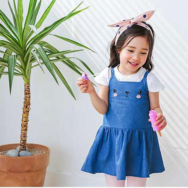 短袖套裝 韓國 Bebezoo 白底素色短袖上衣+害羞貓咪洋裝 套裝2件組 - 藍色 BE18-M-SET207