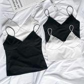 背心 白色吊帶背心女夏季外穿露臍修身內搭V領無袖上衣性感短款打底衫 米蘭街頭