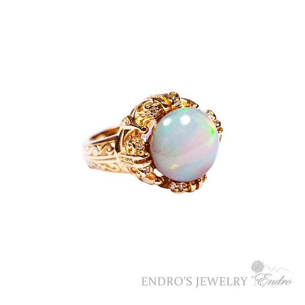 【Endro手作輕珠寶】 蛋白石鑲金戒指 925純銀 (安垛不藏私,台日合作,全台獨一無二,把握良機)