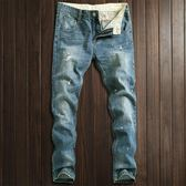 新款裝淺藍色油漆點破洞男士牛仔褲修身型潮男薄款牛仔長褲子