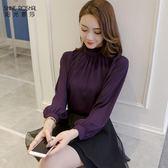 雪紡立領燈籠袖襯衫女長袖打底寬鬆 東京衣櫃