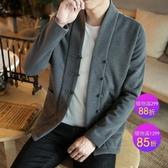 男士外套中國風男裝 佛系秋季漢服夾克 寬鬆唐裝禪服 居士服 父親節降價