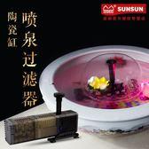陶瓷缸過濾器圓形金魚缸過濾凈化噴泉造景靜音三合一潛水泵增氧泵「極有家」