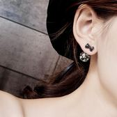 蝴蝶結滿鉆圓球耳環女百搭針耳釘氣質韓國甜美時尚耳墜飾品