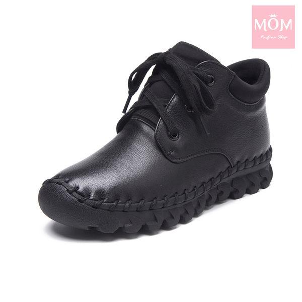 全真皮百搭舒適手工縫線綁帶設計休閒短靴 黑 *MOM*