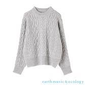「Hot item」麻花辮高領針織上衣 - earth music&ecology