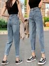 牛仔褲女褲子2020年新款潮直筒寬鬆高腰顯瘦百搭老爹九分蘿卜春秋