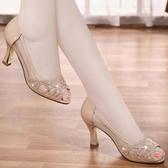 魚口鞋粗跟涼鞋女韓版休閒百搭網紗真皮高跟單鞋中跟魚嘴涼鞋女新年禮物 韓國時尚週