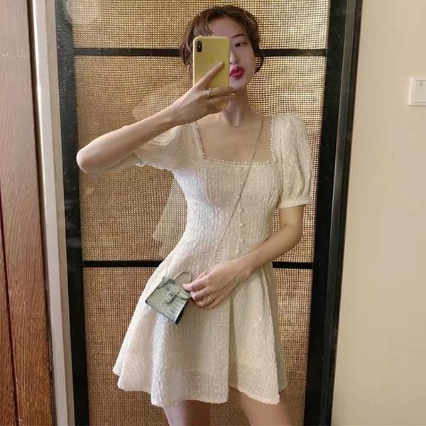 洋裝 復古洋氣很仙小眾法式收腰顯瘦智熏桔梗氣質超仙女洋裝子2020夏