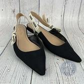 BRAND楓月 Christian Dior 迪奧 黑色 布面 織布 尖頭 鬆緊繫帶 涼鞋 平底鞋 #38