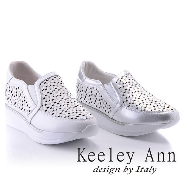 ★2018春夏★Keeley Ann氣質甜美~花兒朵朵開水鑽全真皮厚底休閒鞋(銀色) -Ann系列