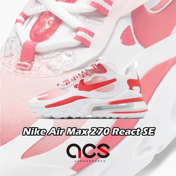 【四折特賣】Nike 休閒鞋 Wmns Air Max 270 React SE 白 紅 女鞋 厚底 大氣墊 【ACS】 BV3387-100