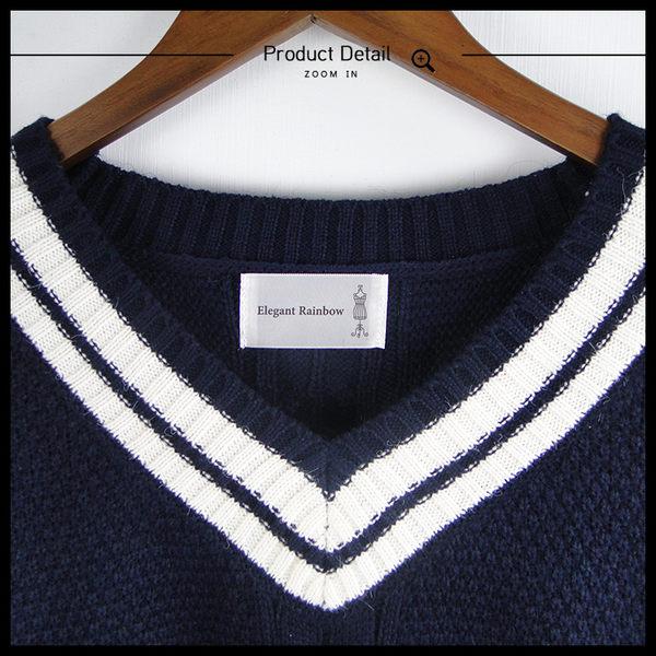 Melek 針織毛衣 (共5色) 現貨 【B09161025-0601~05】女W藍白條V領粗針 學院風毛衣/V領毛衣
