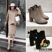 女靴尖頭絨布粗跟裸靴韓版百搭氣質高跟短靴【創世紀生活館】