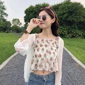 雙十一返場促銷夏季新款韓版小清新修身百搭短款碎花吊帶 長袖雪紡衫防曬衣外套