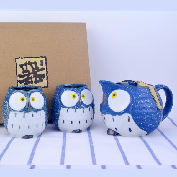 【堯峰陶瓷】日式貓頭鷹造型茶具組 一壺兩杯-附濾網   禮盒組   自用送禮好方便