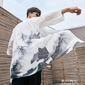 唐裝/漢服-中國風開衫浮世繪改良漢服男披風外套羽織和服中式唐裝道袍長衫夏  東川崎町