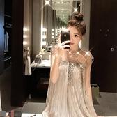 重工串珠披肩百褶連身裙 宴會聚會晚禮服女 2020新款派對年會小禮服  店慶降價