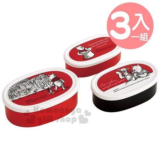 〔小禮堂〕迪士尼 小熊維尼 日製橢圓形保鮮盒組《3入.紅白》便當盒.食物盒 4973307-44473