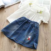 童裝夏裝2018新款女童短袖T恤嬰兒上衣兒童女寶寶刺繡娃娃衫【四季生活館】