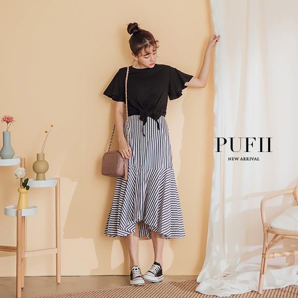 PUFII-套裝 喇叭袖綁結上衣+條紋魚尾長裙兩件式套裝-0418 現+預 春【CP16493】
