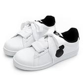 DISNEY 簡約率性 米奇緞帶休閒鞋-白黑-DW56351C