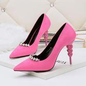 韓版尖頭鞋 淺口高跟鞋 水鑽細跟性感顯瘦OL鞋《小師妹》sm1418