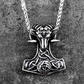 《QBOX 》FASHION 飾品【CBP8-351】精緻個性維京羊頭護身符鑄造鈦鋼墬子項鍊(收藏)