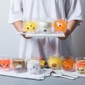 貓爪杯小熊耐熱雙層玻璃杯可愛果汁牛奶杯家用隔熱學生水杯女貓爪杯家用 新品