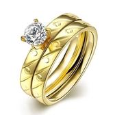 鈦鋼戒指 鑲鑽-精美雙環套戒時尚生日情人節禮物男飾品73le181【時尚巴黎】