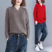 秋冬胖MM文藝加厚大尺碼女上衣 寬鬆針織套頭長袖打底V領毛衣潮 週年慶降價