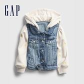 Gap女幼童 時尚拼接設計連帽牛仔外套 600402-水洗藍