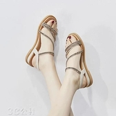 涼鞋女夏季新款羅馬鞋休閑韓版平底百搭軟底仙女水鉆坡跟女鞋快速出貨