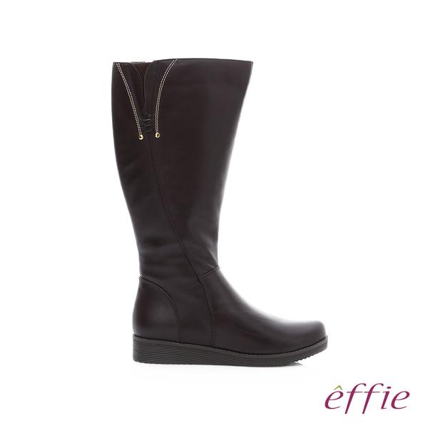 effie 保暖靴 真皮側拉鍊舒適奈米長靴  咖啡