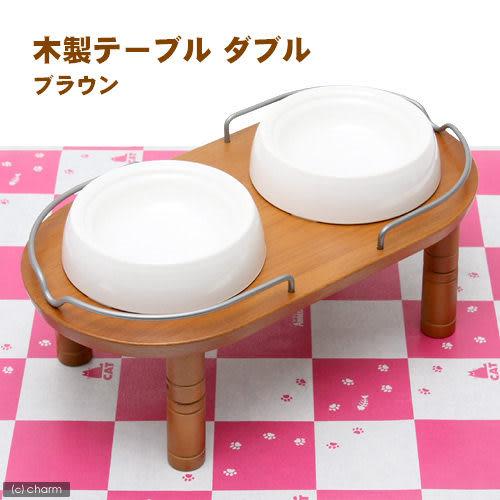 【寵物王國】日本Richell-木製加高雙碗架-白/棕