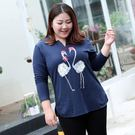 大尺碼  長袖t恤女純棉新款秋裝印花女式寬鬆上衣韓版內搭胖mm打底衫