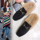 秋季新款韓版毛毛穆勒chic復古包頭半拖鞋女外穿社會女生鞋子  居家物語