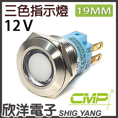 19mm不鏽鋼金屬平面三色指示燈 DC12V / S19041-12RGB 紅綠藍三色光 CMP西普
