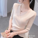 春裝2021年新款女中袖上衣v領洋氣半袖針織衫冰絲短袖打底薄款夏