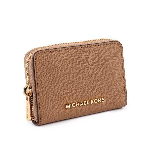 【MICHAEL KORS】素面防刮皮革ㄇ拉零錢/卡片夾(卡其色) 35H8GTVZ5L DK KHAKI