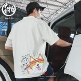 2019夏季新款港風卡通印花短袖T恤男士加肥加大碼日系韓版polo衫