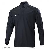 Mizuno Polo [32TA052509] 男 長袖 Polo衫 合身 吸汗 速乾 彈性 遠紅外線 保暖 黑